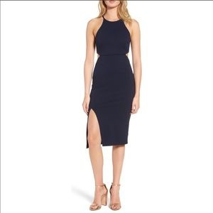 NORDSTROM navy cut out midi dress